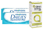 2 x Dailies Aqua Comfort Plus (30 db) + Clean Active Premium Drops 15 ml